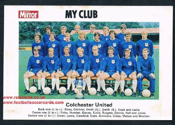 1970 My Club Daily Mirror postcard-size card Colchester United